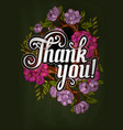 thank you lettering decorated with flowers poster vector image vector image