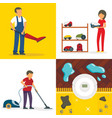 vacuum cleaner banner set flat style vector image