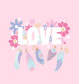 word - love with feathers and flowers vector image vector image
