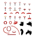 Set of flat meat and sausage icons vector image