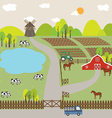Landscape of Farm Field and Hill vector image