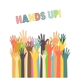 different colors hands up vector image
