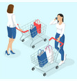 young women with shopping cart vector image