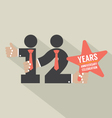12th Years Anniversary Typography Design vector image vector image