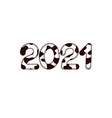 2021 new year digits covered with bull skin vector image vector image