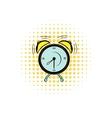 Alarm clock comics icon vector image