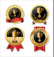 award design black and golden labels collection vector image vector image