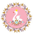 banner with princess swan and floral vector image vector image
