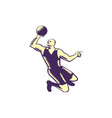 Basketball Player Dunk Ball Woodcut vector image vector image