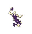 Basketball Player Dunk Ball Woodcut vector image vector image