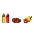 beef pork steak vegetables ketchup and mustard vector image