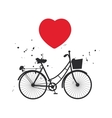 bicycle silhouette and red heart on white vector image
