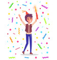 birthday man holding sparkler confetti vector image vector image
