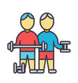 bodybuilders fintess gym strong practice vector image vector image