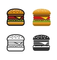 Burger colored icon set vector image vector image