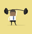 businessman holding a heavy barbell with one hand vector image