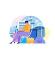 buying airline tickets online flat concept vector image vector image