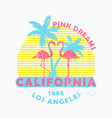 California print for t-shirt with flamingo palm