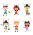 cartoon children with bunny ears set vector image