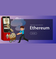 cartoon man with ethereum crypto currency poster vector image vector image