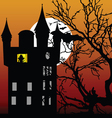 castle in the twilight with bat vector image