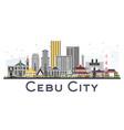 cebu city philippines skyline with gray buildings vector image vector image