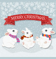 christmas card with cute rabbits christmas vector image vector image