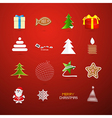 Christmas Icons on Red Background vector image