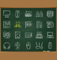 computer chalk draw line icons set vector image