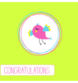 Congratulations card with cute bird vector image