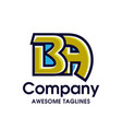 creative letter ba logo design elements vector image vector image