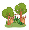 cute animals moneky trees flowers grass forest vector image vector image