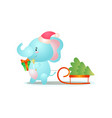 cute blue elephant is preparing for christmas vector image vector image