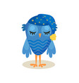 cute blue owlet sleeping sweet owl bird cartoon vector image vector image