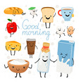 dairy products kawaii flat vector image