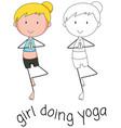 doodle of girl doing yoga vector image vector image