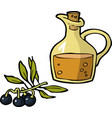 doodle olives and a bottle of oil vector image vector image