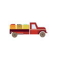 flat farmer truck with vegetables vector image vector image