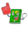 foam finger green passport on the mascot table vector image