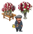Funny man seller of roses character vector image vector image
