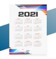 geometric style 2021 calendar design template