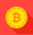 gold bitcoin flat icon vector image