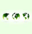 green circles globes set world planet earth vector image