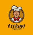 happy chef in hat logo menu design for cafe and vector image vector image