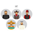 hat types men poster with headwear vector image vector image