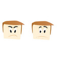 human face unhappy and angry emoticon vector image