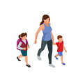 isometric back to school parents with their vector image vector image