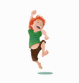 jumping laughing carroty boy in a green tee-shirt vector image