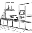 kitchen interior room sketchy on white vector image vector image