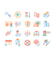 large set vaccine and medical icons on white vector image